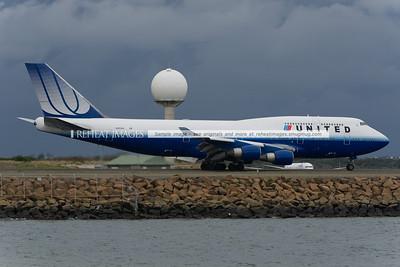 United Airlines, Boeing, B747, sydney, landing, Chris P Denton