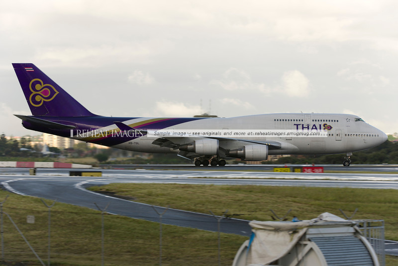 Thai B747-400 arrives in Sydney. It is the first visit of a Thai B747-400 in many years.