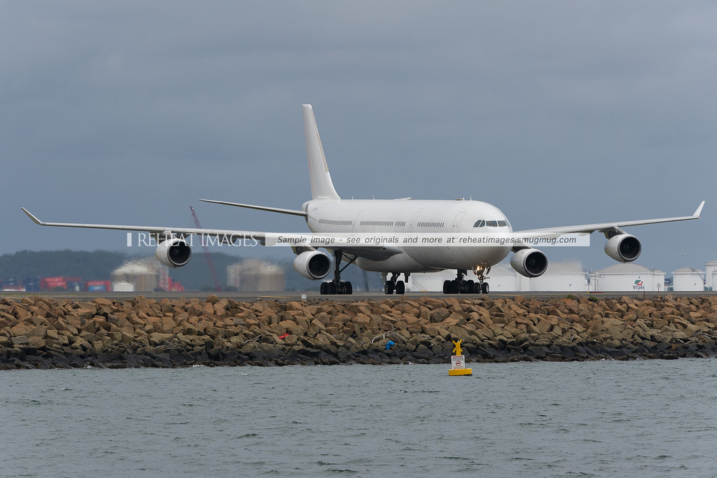 Adagold Aviation (HiFly) A340-300 at Sydney airport, operating for the Australian Defence Force.