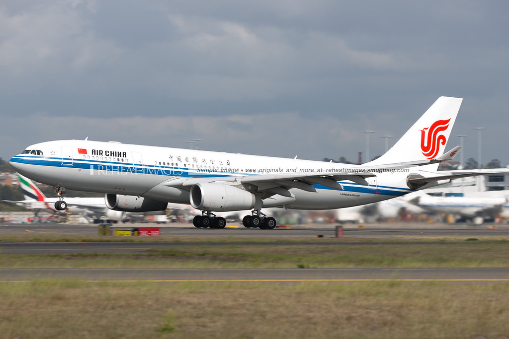 VIP flight carrying a Chinese delegation leaves Sydney airport on a warm morning.