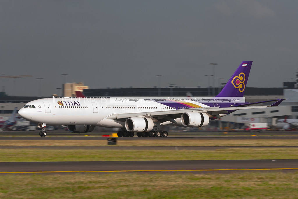 Thai Airways Airbus A340-541 HS-TLB replaced the usual A340-642 on this very warm November morning.