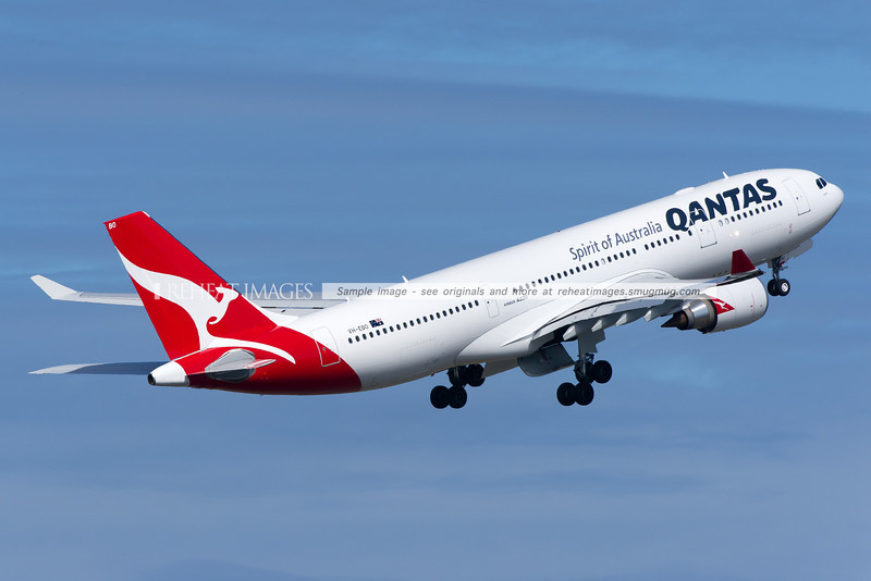 A Qantas Airbus A330-202 departs Sydney airport on runway 16 right.