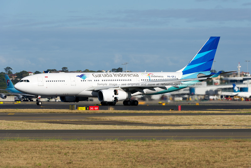 A Garuda Indonesia Airbus A330-243 arrives at Sydney airport on runway 16 right.