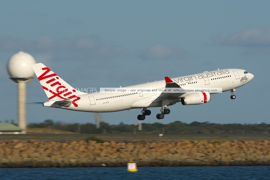 Virgin Australia Airbus A330 leaves Sydney airport.