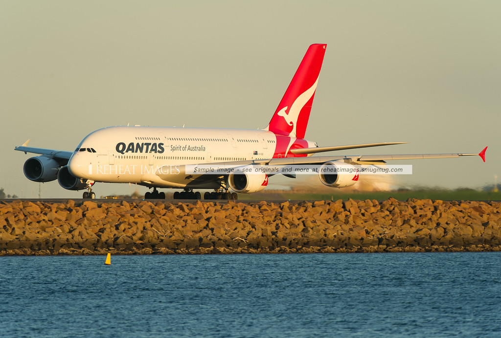 A Qantas Airbus A380-842 departing Sydney airport on runway 34L.