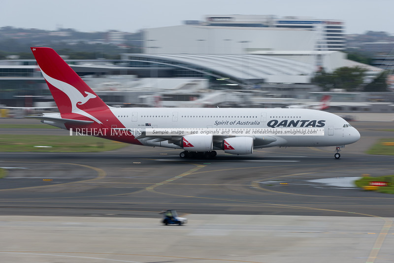 A Qantas Airbus A380 takes off from Sydney airport.