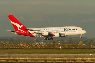 """QF6024 arrives in Sydney. This A380 flew from Toulouse (Blagnac) to Sydney via Singapore. This brand new plane is named """"Bert Hinkler"""", after the pioneering Australian aviator."""