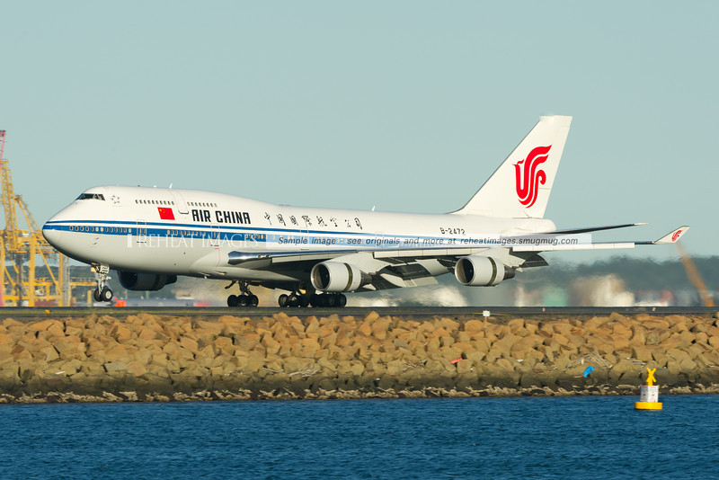 Air China Boeing 747-4J6 arrives in Sydney airport on runway 34L. This plane was carrying China's fourth-highest ranking leader, Jia Qinglin who was in town on an official visit.