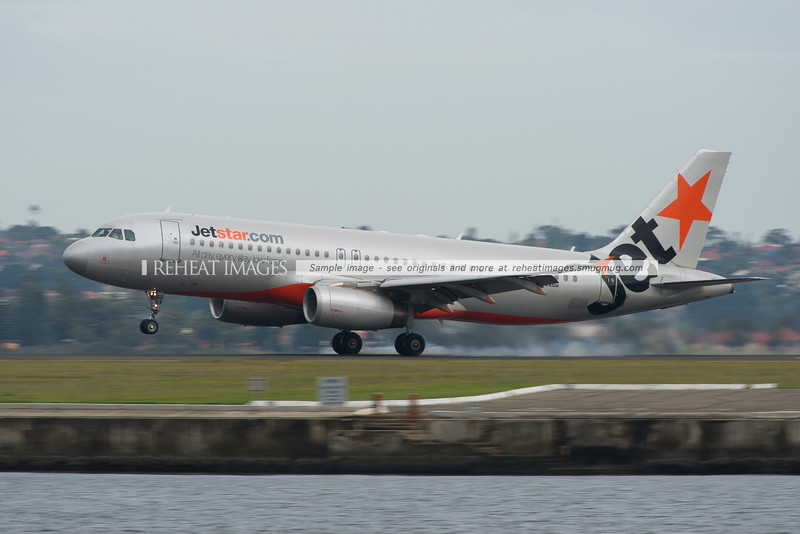 Jetstar Airbus A320 lands at Sydney airport.