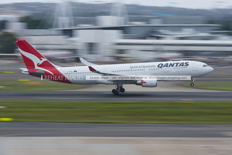 A Qantas Airbus A330-200 lands at Sydney airport.