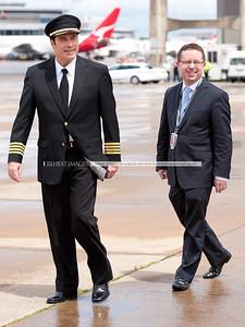 John Travolta and Qantas' Alan Joyce at the Qantas 90th anniversary celebrations in Sydney.