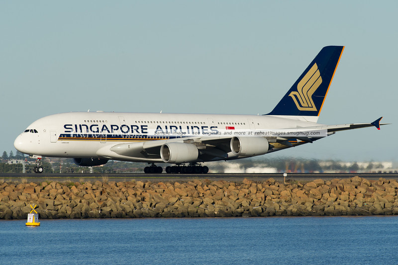 Singapore Airlines A380 takes off from runway 34 left at Sydney airport
