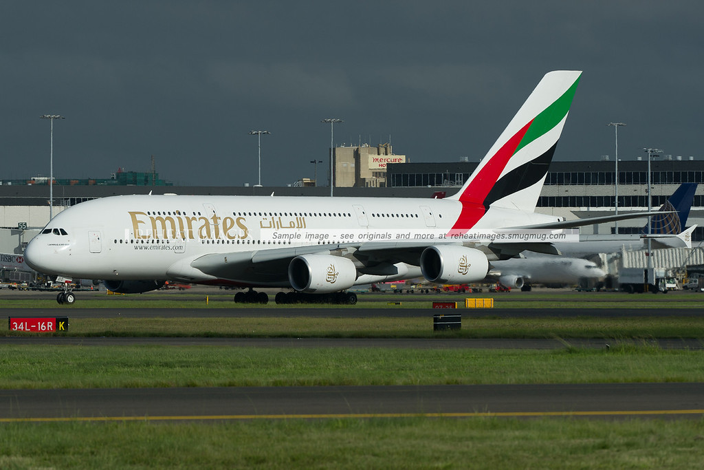 An Emirates Airbus A380-861 departs Sydney airport.