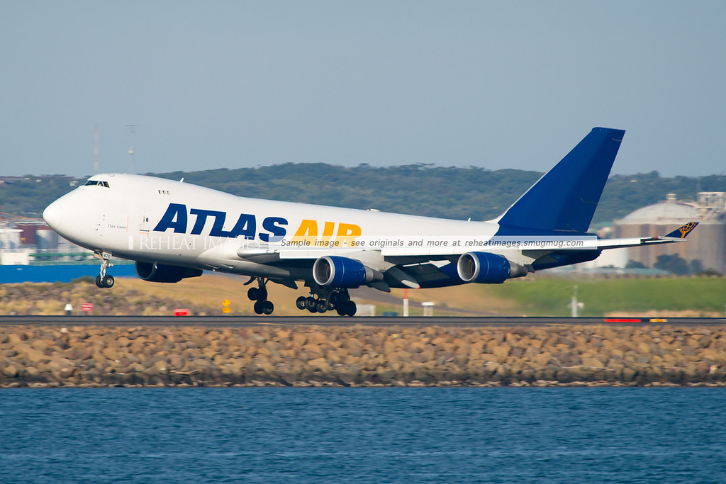 Clare Louise, a Atlas Air Boeing 747-400F registered as N476MC arrives into Sydney flying as Giant 4515. It was heavily delayed - but arrived in great afternoon light.