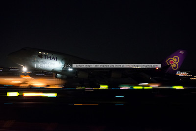 Thai 866 departs Sydney airport for the very first time at night.