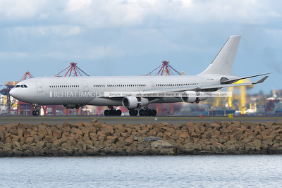 The Adagold A340-300 arrives at Sydney airport.