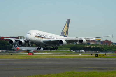 A Singapore Airlines Airbus A380-841 9V-SKQ lands runway 16 right.