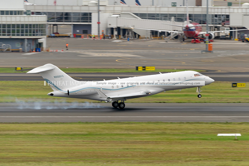 Bombardier BD-700-1A10 landing on runway 16R at Sydney airport. This is one of the more eye-catching biz-jets