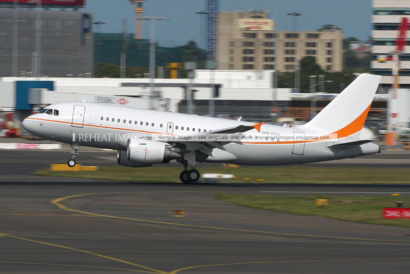 The Skytraders Airbus A319LR arrives in Sydney airport.