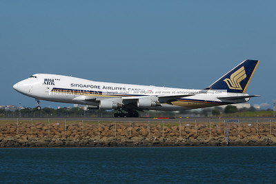 Singapore Airlines Cargo Boeing 747-400F takes off from Sydney airport.