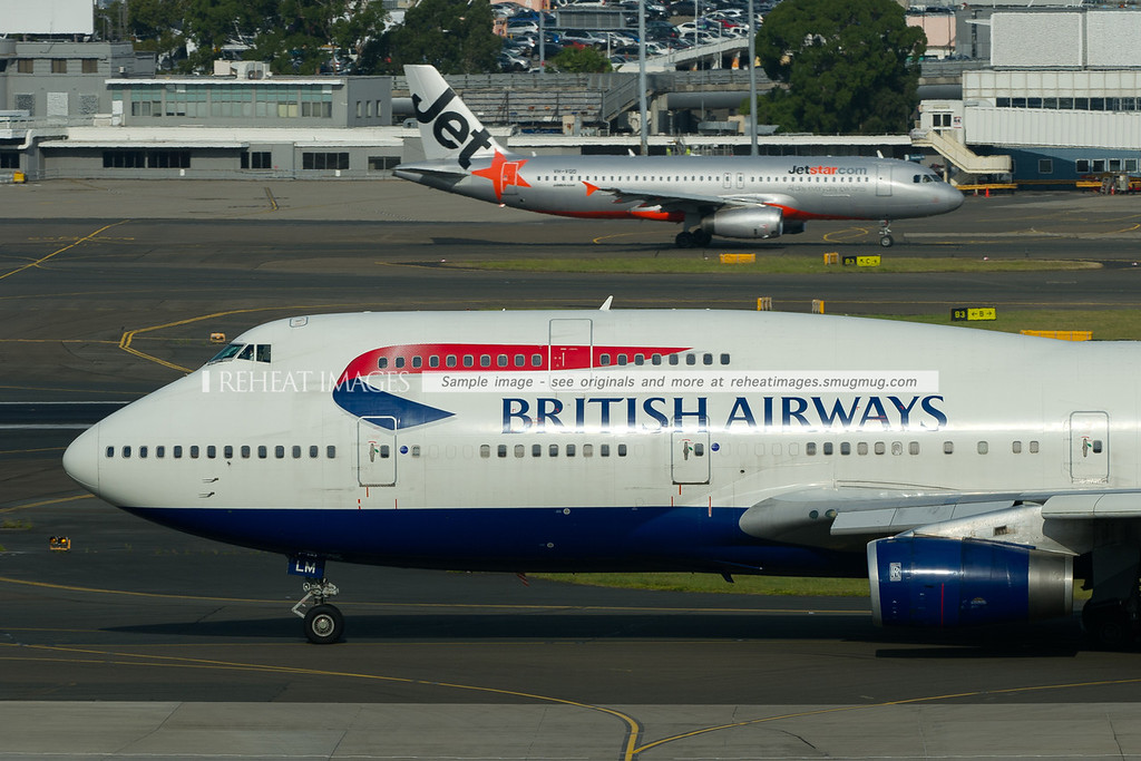 British Airways Boeing 747-436 and Jetstar A320 Airbus at Sydney airport.