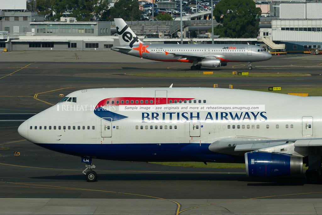 British Airways Boeing 747-436 and Jetstar A320 Airbus at Sydney airport.