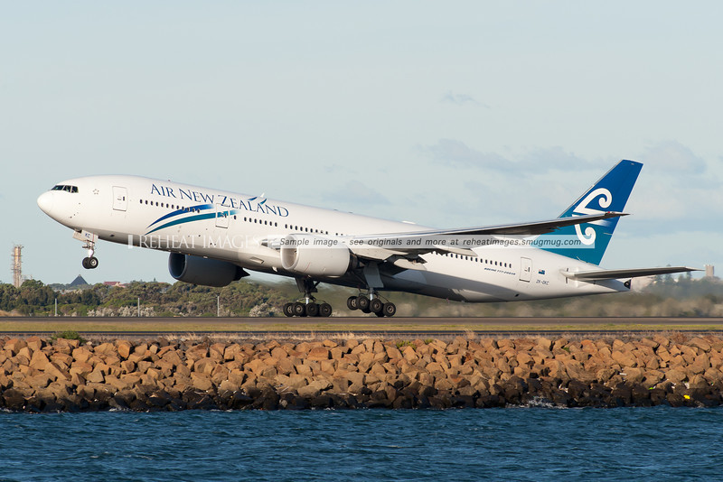 Air New Zealand Boeing 777-219/ER takes off from runway 34 left at Sydney airport.
