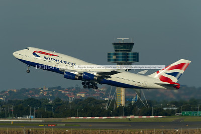 """British Airways Boeing 747-436 departs Sydney. This is one of the B747s carrying the British Airways coat-of-arms """"To Fly To Serve""""."""