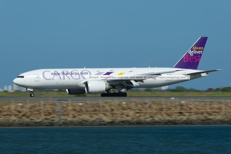 Thai Cargo (Southern Air) Boeing 777-200F arrives in Sydney.