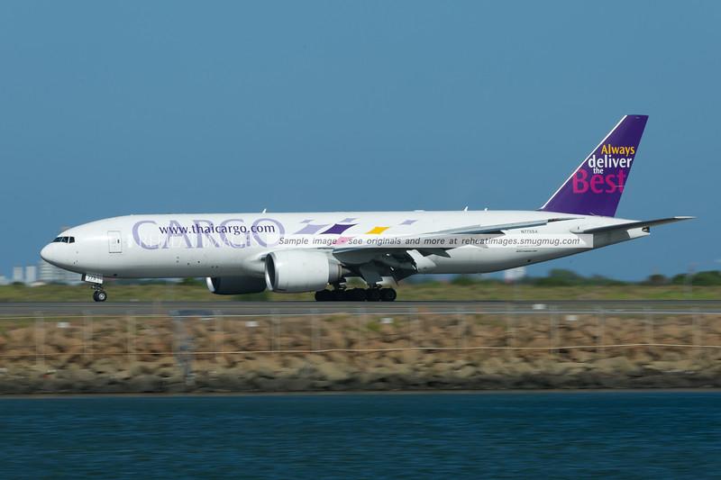Thai Cargo (Southern Air) Boeing 777-200F arrives in Sydney.