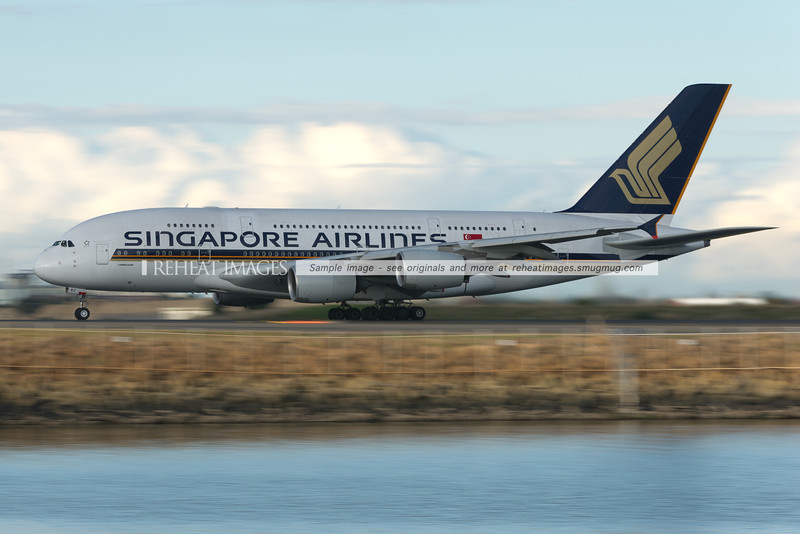 Singapore Airlines A380 takes off from Sydney airport.