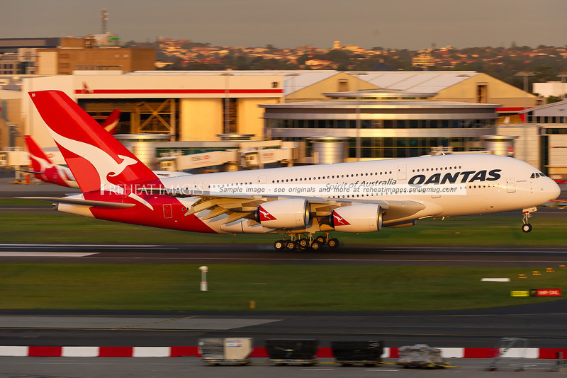 New Airbus A380-842 for Qantas Airways named David Warren, after the inventor of the Flight Data Recorder. Shown here landing in Sydney for the first time at the completion of its delivery flight.