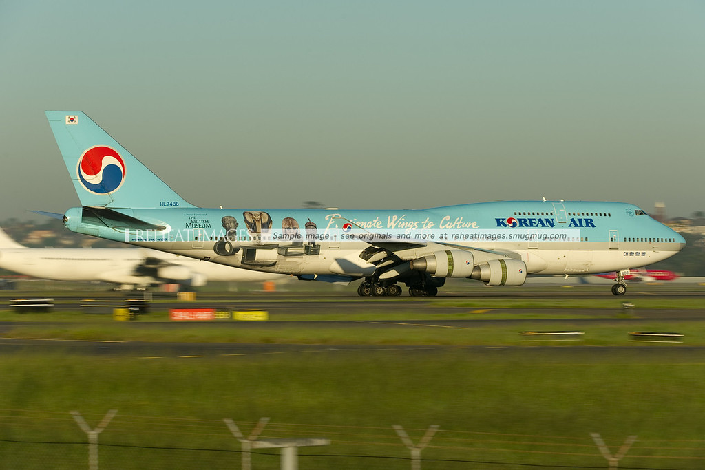 "Korean Air Boeing 747-400 HL7488 in Sydney. The plane wears the ""Passionate Wings to Culture - The British Museum"" colour scheme."
