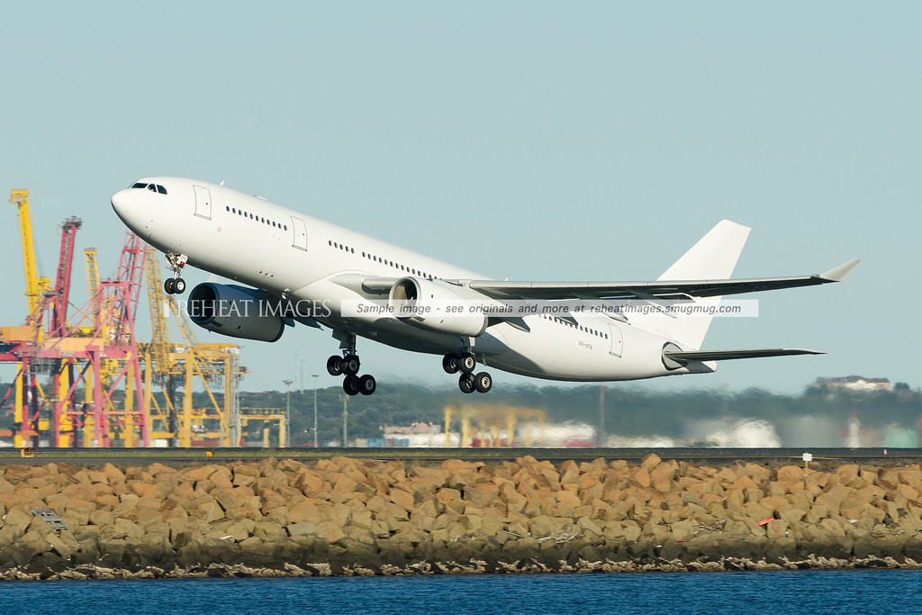 One of the Airbus A330 aircraft for Virgin Blue's new operations. It looks certain that it will receive the Virgin Australia name. The plane is seen here on a non-revenue flight leaving Sydney airport on runway 34L.