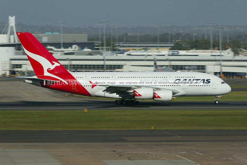 "Qantas Airbus A380-842 ""Hudson Fysh"" leaves Sydney airport."