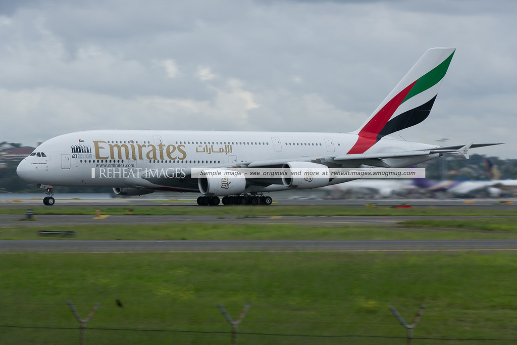 Emirates Airbus A380 at Sydney airport.