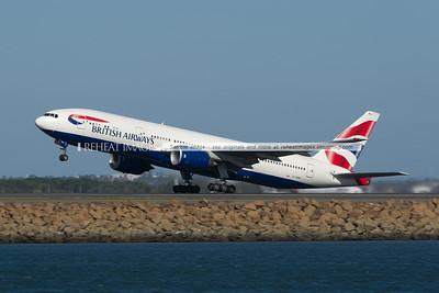 British Airways Boeing 777 takes off from Sydney airport.