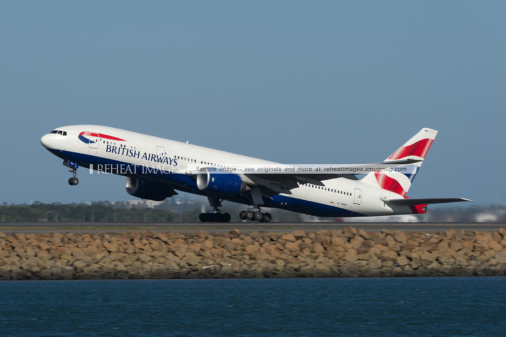 British Airways Boeing 777 takes off from Sydney airport.