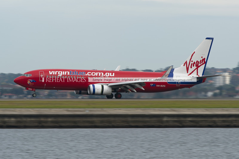Virgin Blue B737-800 lands at Sydney airport.