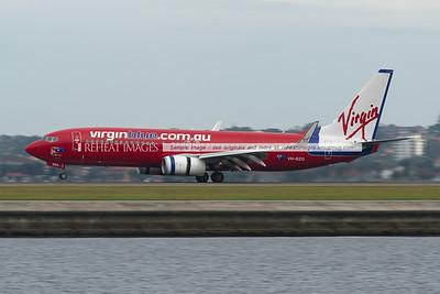 Virgin Blue B737-800 lands at Sydney airport.