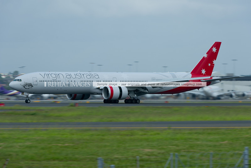 Virgin Australia Boeing 777-300/ER arrives in Sydney.