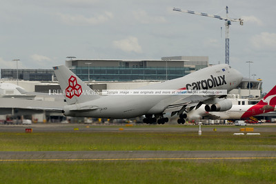 Luxembourg based Cargolux B747-400F takes off from Sydney airport.