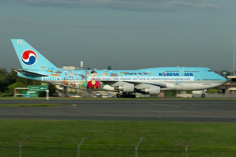 Korean Air Boeing 747-400 in the wonderful Welcome to Korea colour scheme is seen here after landing in Sydney.