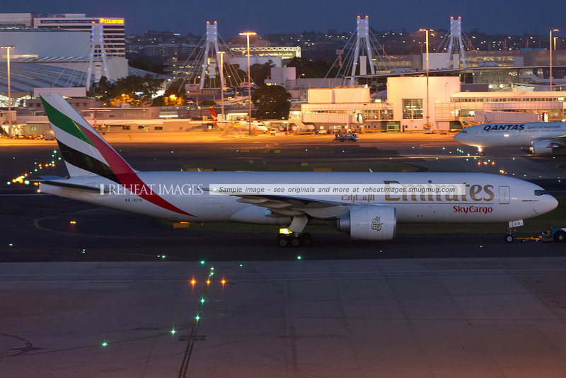The first visit of an Emirates SkyCargo Boeing 777-200F, and also the first visit of a B777-200F to Sydney airport. The plane later left for Stewart International Airport, direct from Sydney. The flight time was 17.5 hours. The tower was overheard remarking 'better you than us' in reference to the ultra long-haul flight.