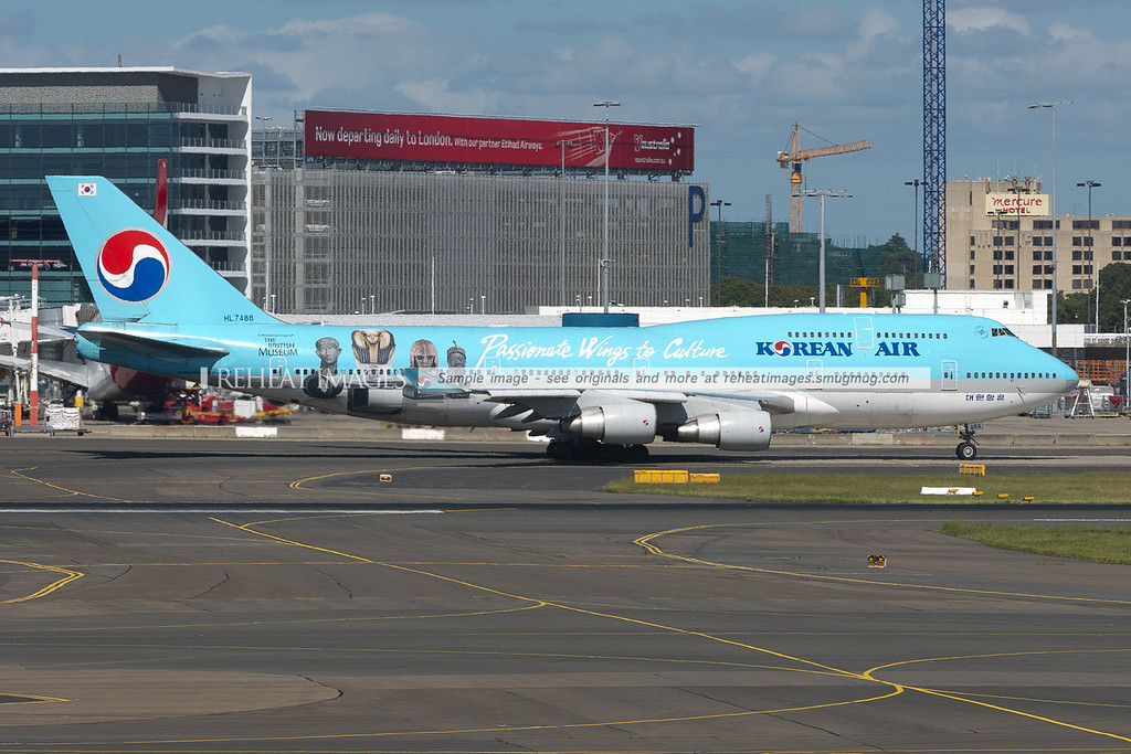 This Korean Air Boeing 747-400 wears decals promoting The British Museum - Passionate Wings to Culture.