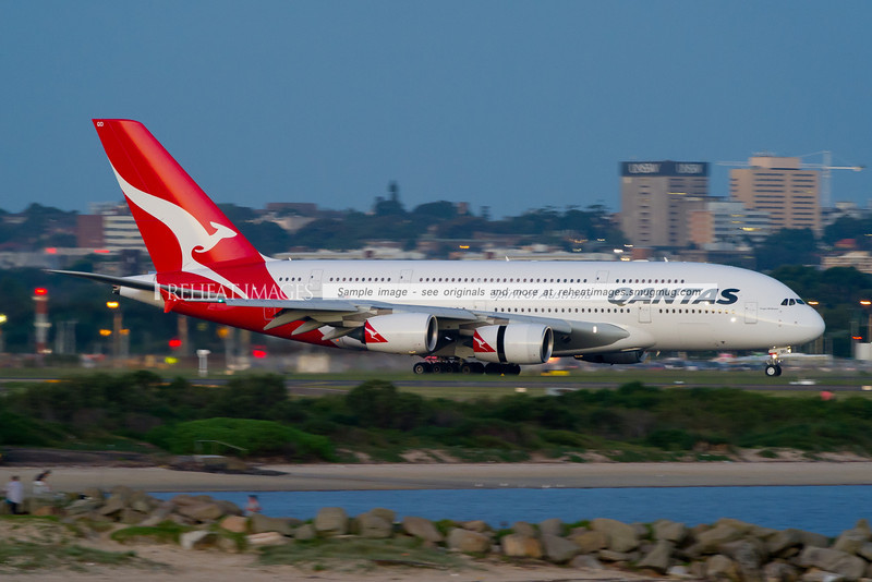 Qantas Airbus A380-842 VH-OQD arrives in Sydney as QF32 from Singapore.