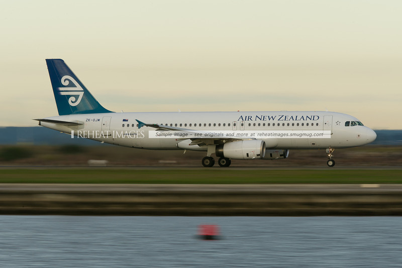Air New Zealand Airbus A320-200 takes off from runway 34 right at Sydney airport.
