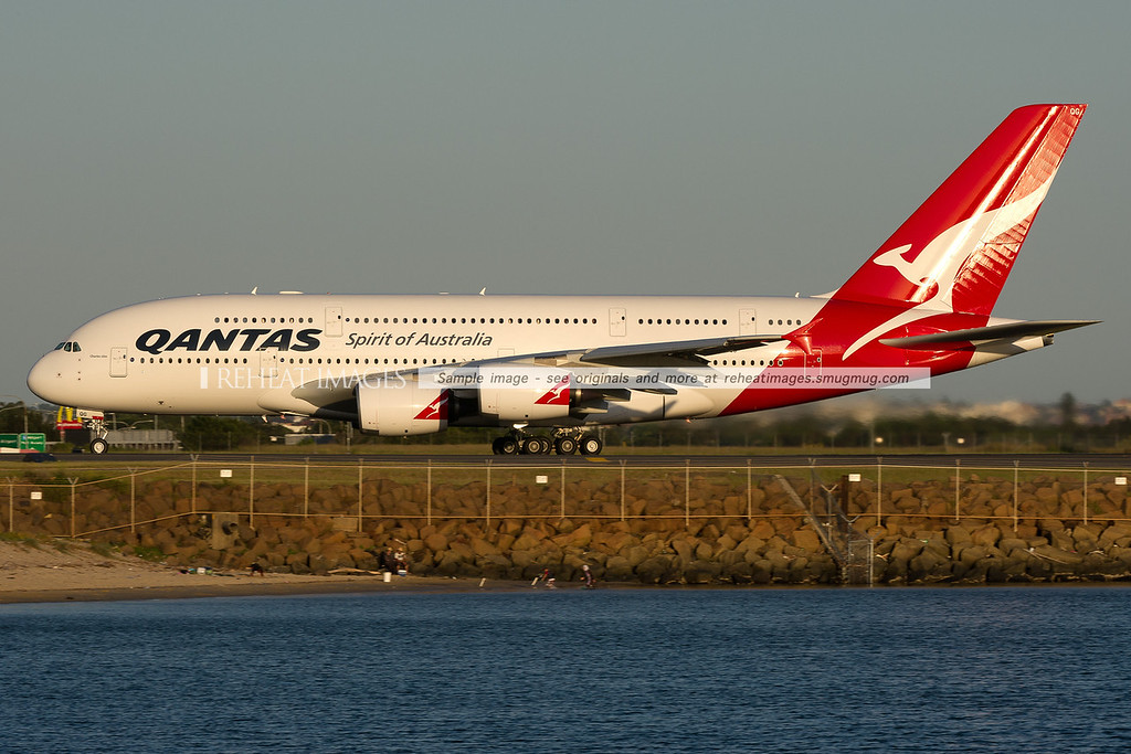 A Qantas Airbus A380-842 departs Sydney airport on runway 34 left.
