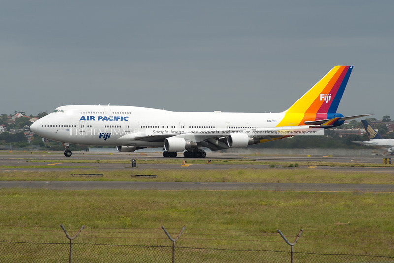 Air Pacific Boeing 747-400 at Sydney airport.
