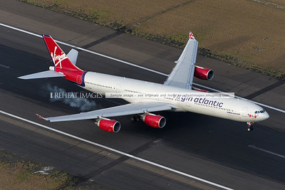Virgin Atlantic from London via Hong Kong touching down in Sydney.